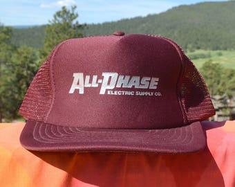 80s vintage foam trucker mesh hat ALL PHASE electric baseball cap rockstar maroon silver