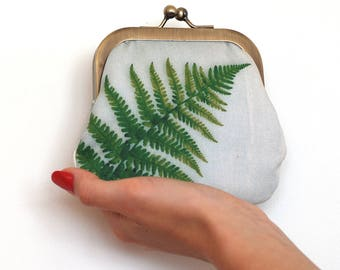 Green fern coin & card purse, bracken frond pouch, woodland branch
