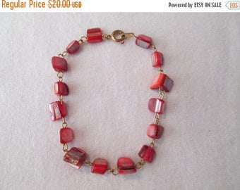 ON SALE Red Mother of Pearl Bracelet