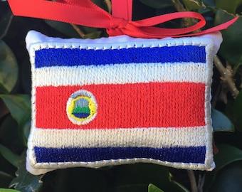 Costa Rican Flag Christmas Ornament  - Gift Topper - Door Knob Hanger Pillow - Costa Rica - Caribbean