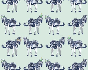 Safari Party Main Mint with Gold Sparkle - blue, white, and mint zebra print - Safari Party Fabric from Riley Blake - 100% cotton