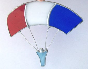 Sky diver stained glass red white and blue skydiving suncatcher OOAK
