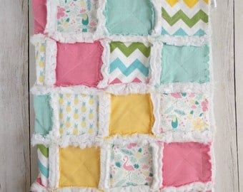 Pineapple Rag Quilt - Flamingo Baby Quilt - Baby Girl Blanket - Tropical Quilt - Pineapple Nursery - Modern Baby Quilt - Pastel Rainbow