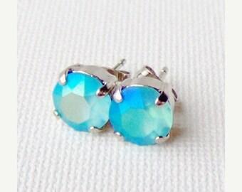 SALE Light blue AB matte rhinestone stud earrings / 8mm / frosted rhinestone / girlfriend gift / Swarovski / gift for her / beach wedding
