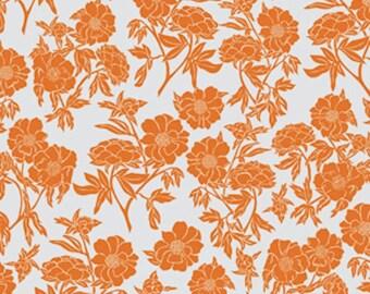FAT QUARTER - Valori Wells Fabric, Novella, Peony in Tangerine, Floral, Orange White Flowers, Cotton Quilting