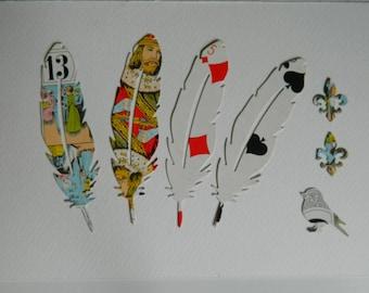 4 Feathers dies cut & 1 bird - 2 fleurs de  Lys- antique Tarot cards - 7  Die Cut  Papers Tarot cards