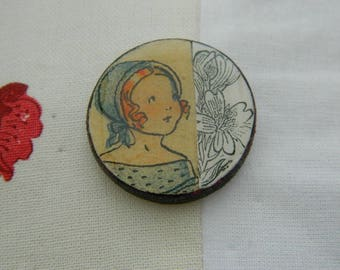 Brooch - Antique paper and wooden chips brooch - Handmade jewelry - handmade brooch -  1930 graphic - Girl and flower