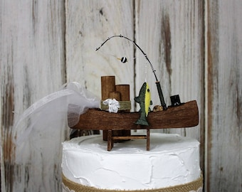 Fishing Wedding Cake Topper, Fishing Boat and Fish, Bride and Groom-Sportman-Grooms Cake Topper-Rustic His and Hers Cake Topper