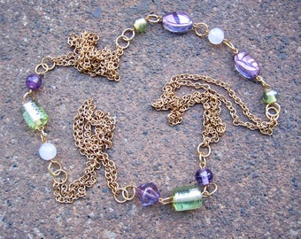 Eco-Friendly Statement Necklace - Breathless - Recycled Delicate Vintage Chain and Glass Beads in Purple, Pale Green and Milky White