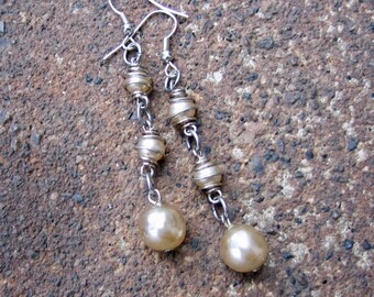 Eco-Friendly Dangle Earrings for Pierced Ears - Pearls of Wisdom - Recycled Vintage Wire-Wrapped & Baroque Glass Pearls in Creamy White