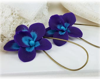 Purple Blue Orchid Earrings - Purple Orchid Earrings, Blue Orchid Earrings, Orchid Drop or Dangle Earrings, Purple Orchid Jewelry