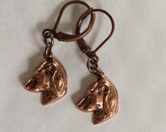 Labrador retriever dog puppy small copper handmade earrings for pierced ears
