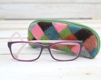 Glasses Case Felted Wool Glasses Case in Greens Pinks and Browns