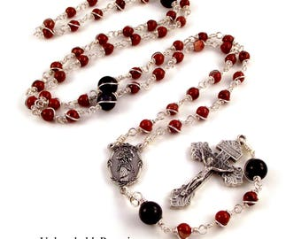 Mary Undoer Of Knots Rosary Beads In Red Jasper and Blue Goldstone  by Unbreakable Rosaries