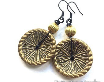 Gold Brass Textured Vintage Button Earrings with Black
