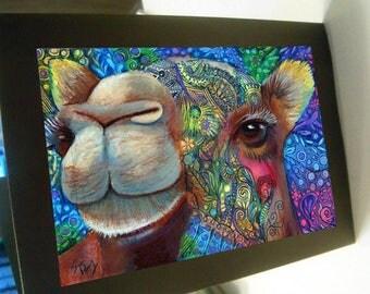 greeting card zentangle camel blank card
