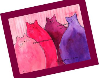 Cat Art Print Cat Pink Red and Purple Cats Abstract Cat Art Colorful Chubby Kitties Cat Home Decor Cat Lover Cat Gift Cat Print Denise Every