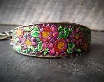 Vintage Brass, Stamping, Hand Painted, Flowers, Brass Bracelet, Summer, Colorful, Artisan made, Unique