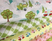 Glamping fabric, Fabricshoppe GlamperLicious fabric, Camping Camper Aqua fabric, Camp Hike, Vintage Camper Aqua by Riley Blake, Bundle of 5
