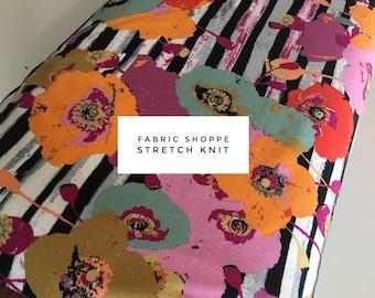 KNIT fabric, stretch spandex cotton blend, Jersey Knit, Stretchy fabric, Leggings, Headband fabric, Stretch fabric- Floral Stipe