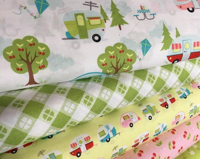 Glamping fabric, Fabricshoppe GlamperLicious fabric, Camping Camper Aqua fabric, Camp Hike, Vintage Camper Aqua by Riley Blake, Bundle of 5