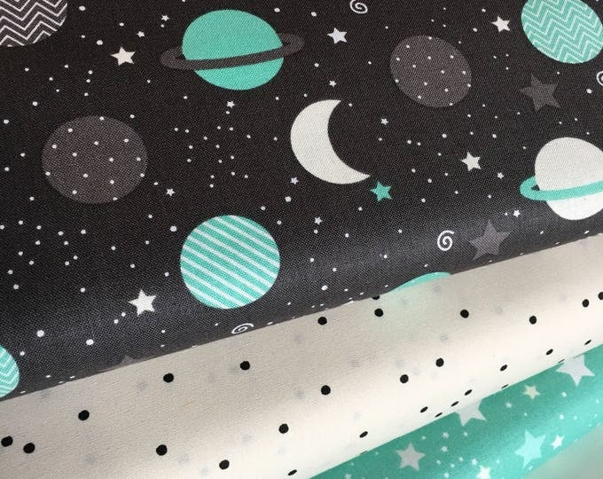 Space Adventure fabric, Planet, Astonomy fabric, Stars, Constellations, Space fabric, Kids fabric, Mint Coral Bundle of 3- Choose the Cuts