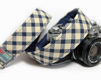 Navy Check Camera Strap - Blue and Ivory Tartan