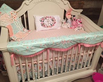 Custom Designer Coral Mint Blush & Gold Metallic Floral Scalloped Ruffled Crib Rail Cover 3 Tier Boutique Crib Bedding Set MADE To ORDER