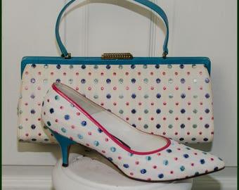 RARE Vintage 1950s J Miller Polka Dot Shoe and Bag Set