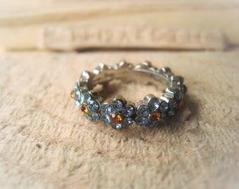 Vintage Crystal Ring Rhinestone Ring Statement Ring Flower Ring Item No. 1027