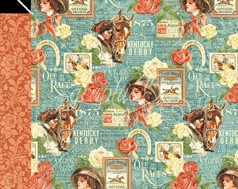 NOW ON SALE Graphic 45 Off to the Races Elegance Running Scrapbook Paper
