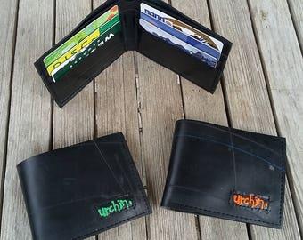 Bike Tube Wallet - Black Billfold Wallet - Mens Vegan Wallet -  Bi-fold Wallet - vegan friendly wallet, recycled wallet