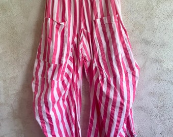 Big pink stripe lagenlook pant