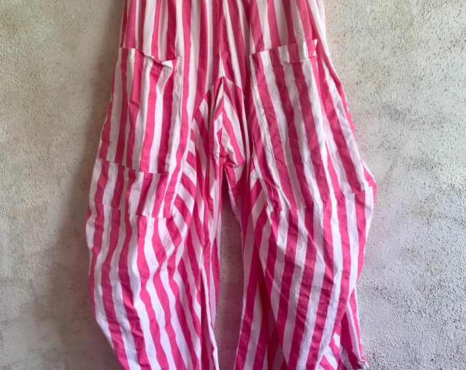 Big pink stripe lagenlook pant