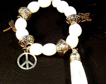 White Tassel Charm Bracelet