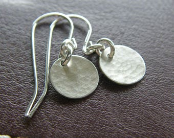 Everyday Earrings - Tiny Sterling Silver Hammered Circle Earrings