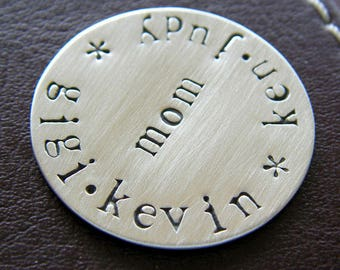 Custom Hand Stamped Golf Marker - Personalized Sterling Silver Keepsake Token - Perfect Gift for Mother's Day