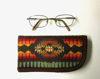 Eyeglasses Case Pouch Protection Sunglasses Flannel Lined Durable Vintage Sage Blanket Wool from Pendleton Oregon