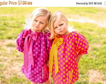 SALE Girls Peasant Dress Pattern -Bodacious Bow- Easy To Sew 3 sleeve lengths 0m - 12 girls