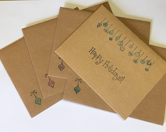 Set Of 8 Assorted Hand Stamped And Colored Kraft Christmas Cards With Matching Envelopes