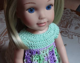 Crochet Baby Doll Top for 14 15 inch AG Wellie Wishers H4H Doll Mint Green Purple Lavender