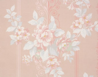 1940s Vintage Wallpaper by the Yard - Floral Wallpaper with Pink Roses and Gray Leaves on Pink