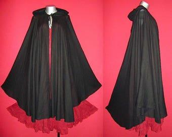Long Black GYPSY PRINCESS CAPE Medieval Gothic Peasant Hoody Cloak Plus Size 1x 2x 3x 4x Halloween