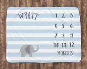 Baby Milestone Blanket- Blue Elephant Baby Month Blanket - Swanky Blankie - Boy - Baby Blanket - Track Growth and Age -Baby Shower Gift