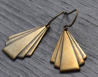 ON SALE Brass Triangle Earrings, Art Deco Brass, Geometric Earrings, French Wire or Lever Back, Gift Under 20
