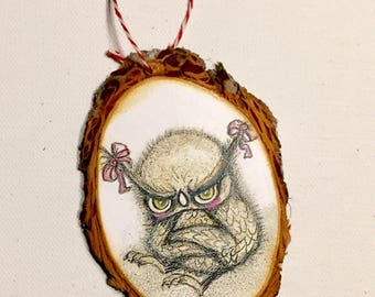 Grumpy owl Tree Ornament Wooden Handmade Tree Decoration Forest Decoration