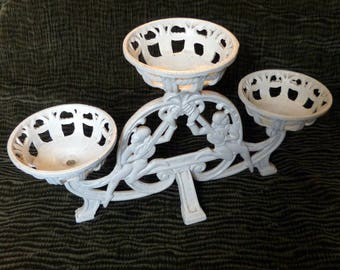 White Cast Iron 3 Pot Plant Stand Figural Lute Players