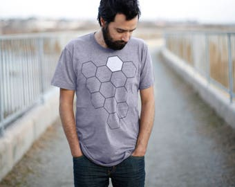Mens Bee Shirt, Bee T shirt, Beekeeper Gift for Dad, Beehive Mens Graphic Tee, Honeycomb Tshirt, Bee Hive Shirt, Size S M L XL XXL on Gray