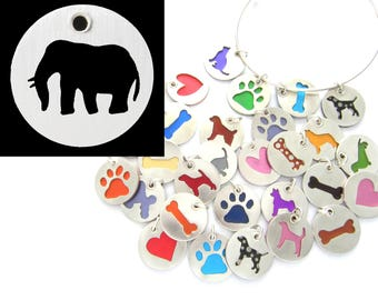 Elephant Sterling Silver Necklace Pendant Charm - Lots of Colors