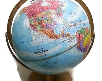 Large Vintage Replogle World Nations Globe Dual Axis Raised Relief